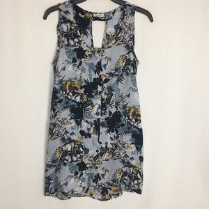 River Island Button Up Floral Print Flowy Tank